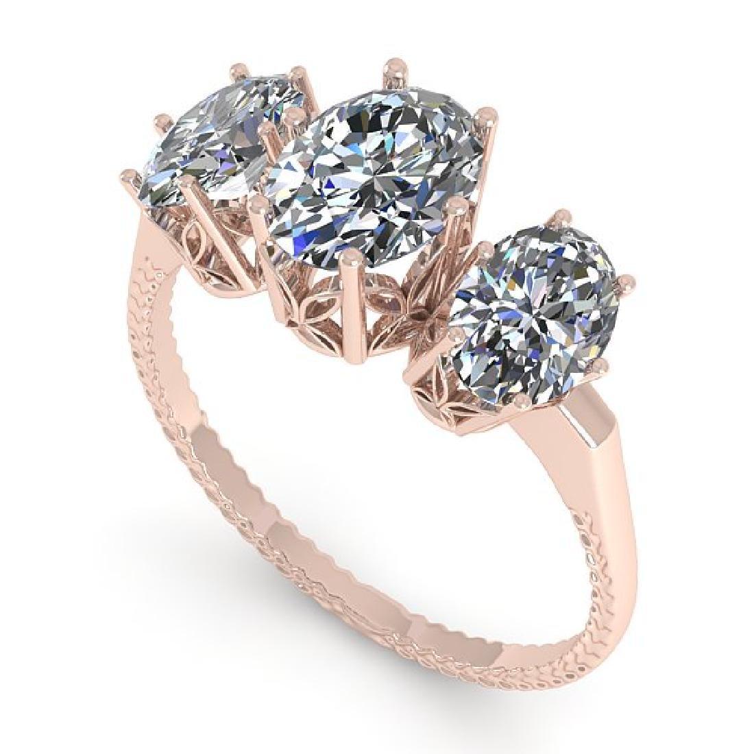 2.0 CTW VS/SI Oval Diamond Art Deco Ring 14K Rose Gold - 2