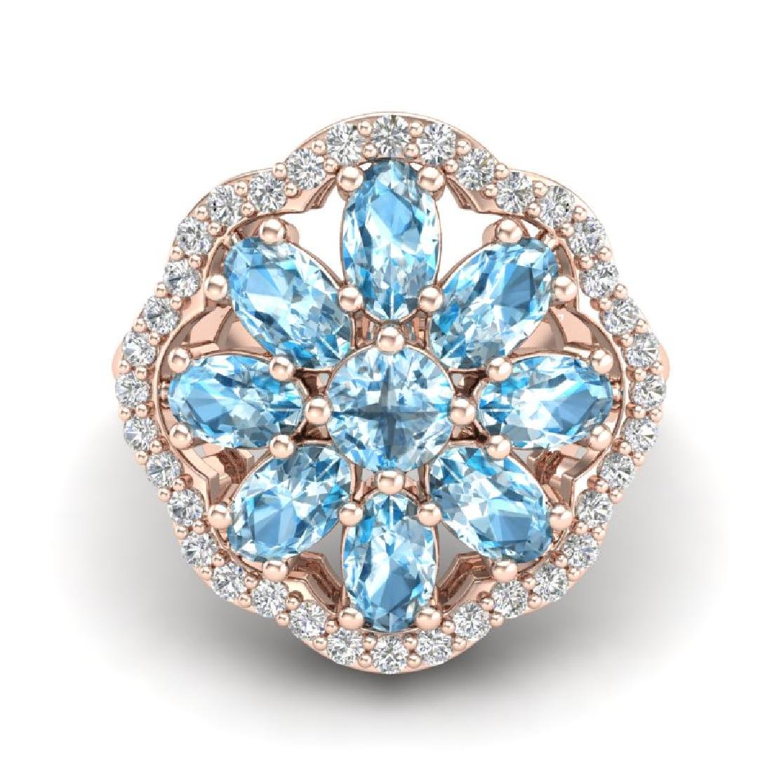3 CTW Sky Blue Topaz & VS/SI Diamond Cluster Halo Ring - 2