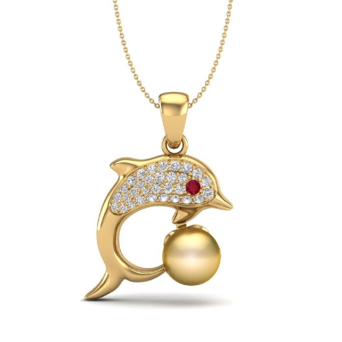 0.65 CTW VS/SI Diamond & Golden Pearl Dolphin Necklace - 2