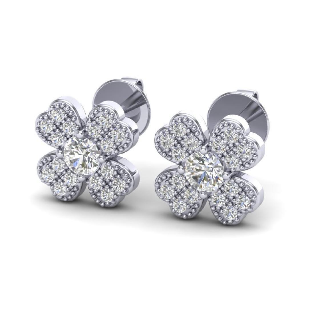 0.54 CTW Micro Pave VS/SI Diamond Earrings 18K White