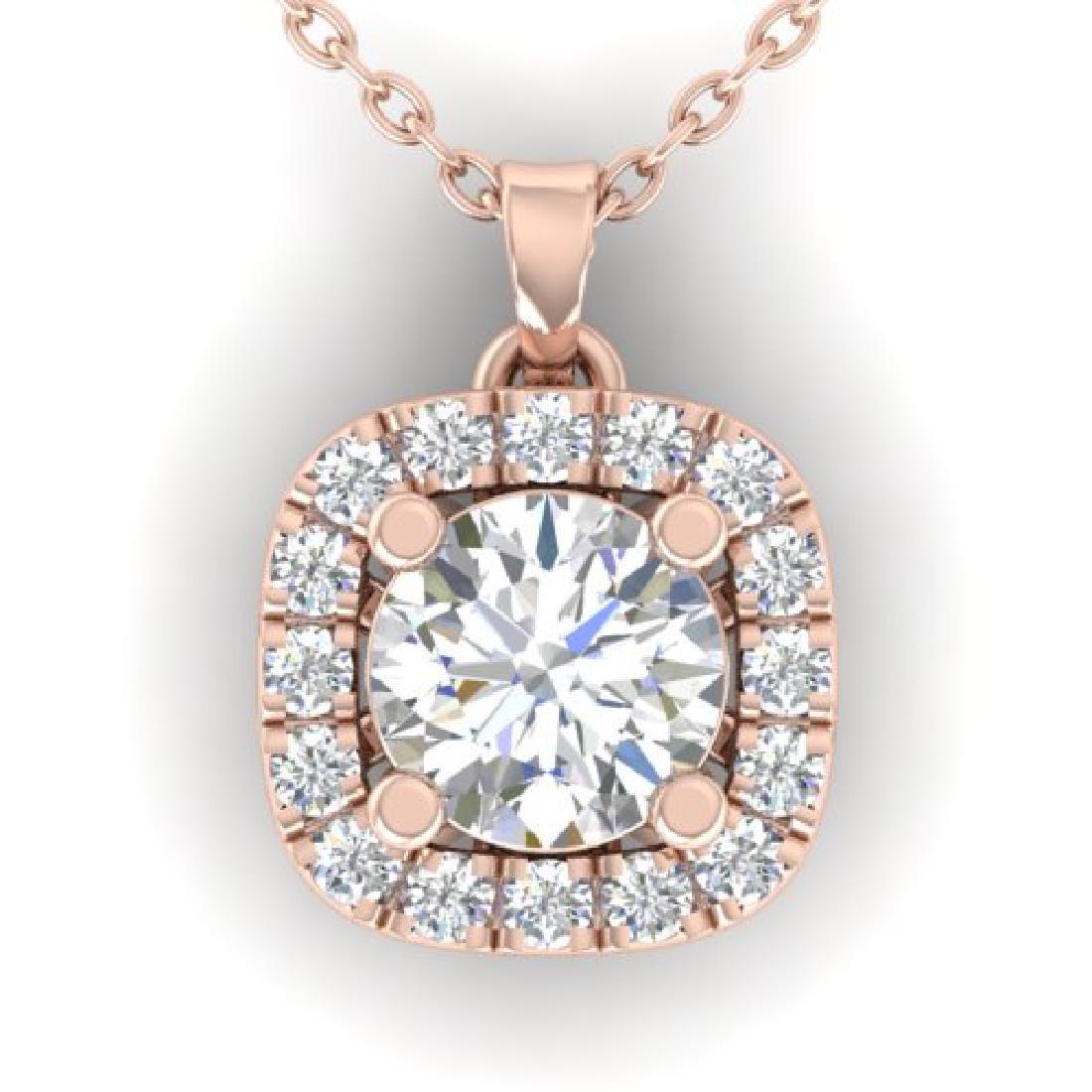 1.01 CTW Certified VS/SI Diamond Stud Halo Necklace 18K