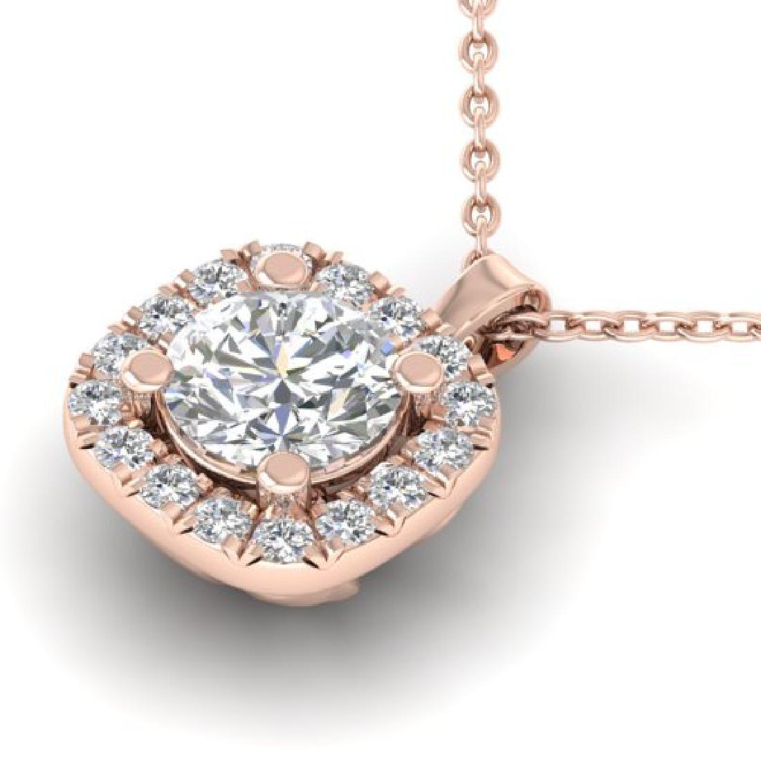 1.01 CTW Certified VS/SI Diamond Stud Halo Necklace 18K - 2