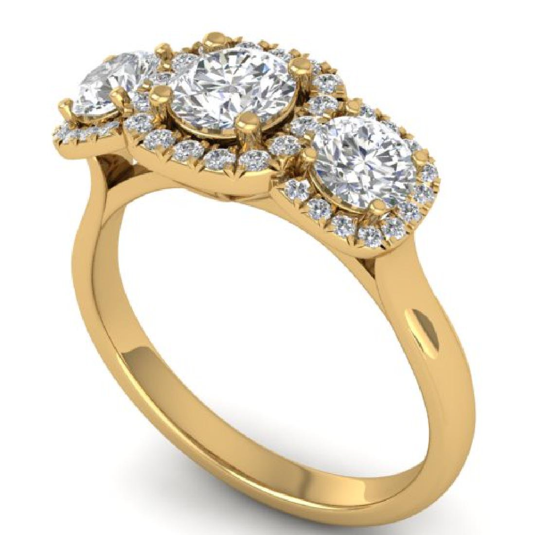 1.55 CTW Certified VS/SI Diamond Solitaire 3 Stone Ring - 2