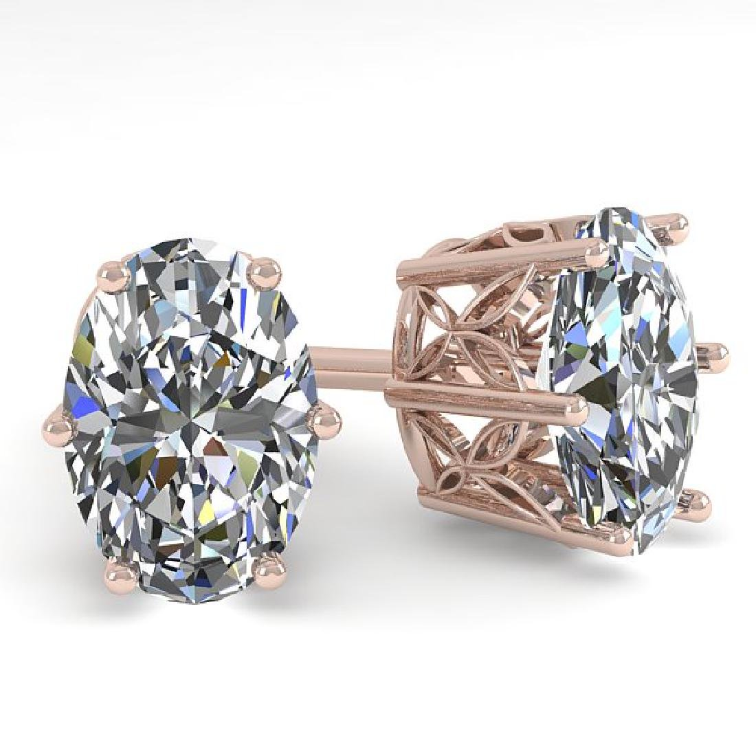 1.0 CTW Certified VS/SI Oval Diamond Stud Art Deco