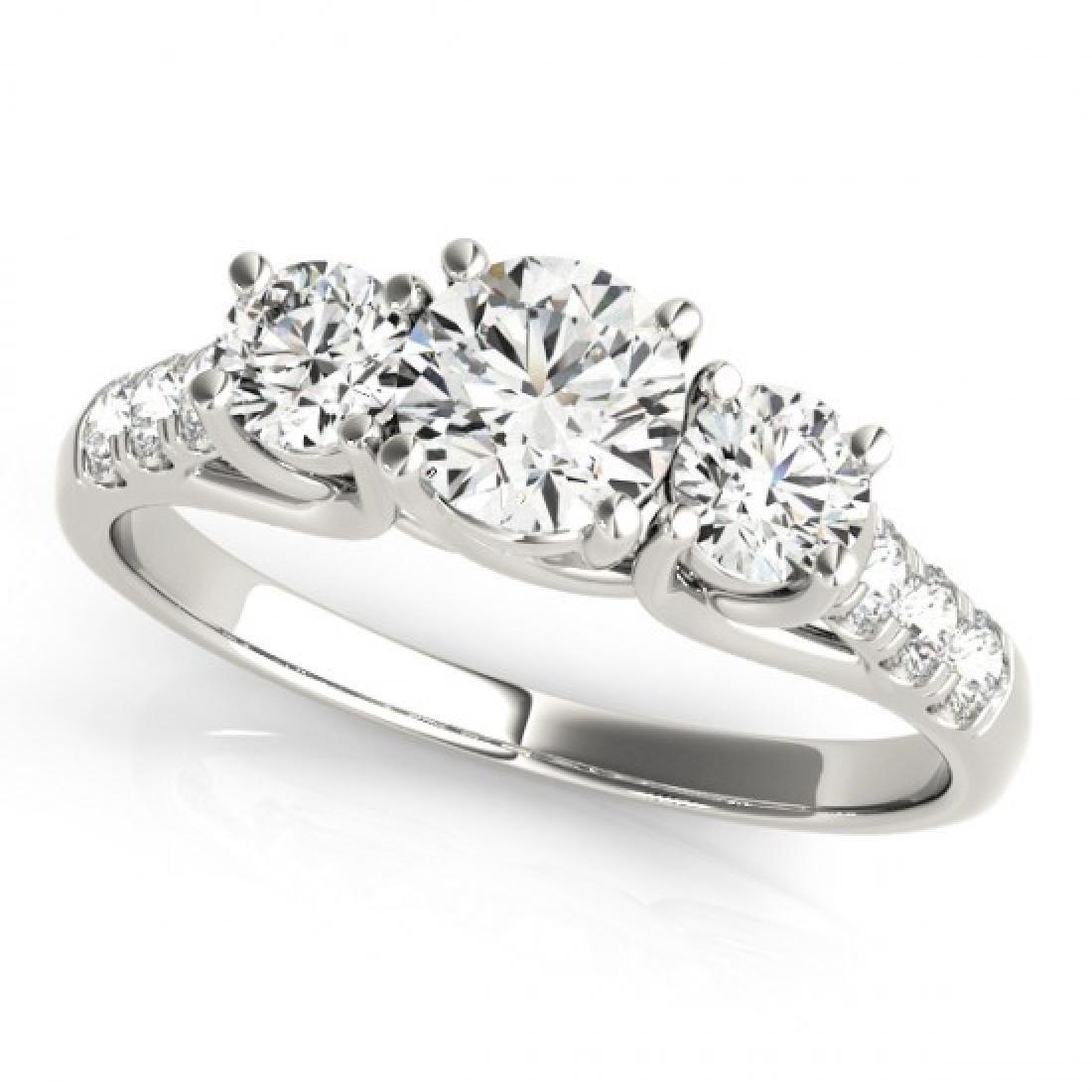 1.25 CTW Certified VS/SI Diamond 3 Stone Ring 14K White - 2