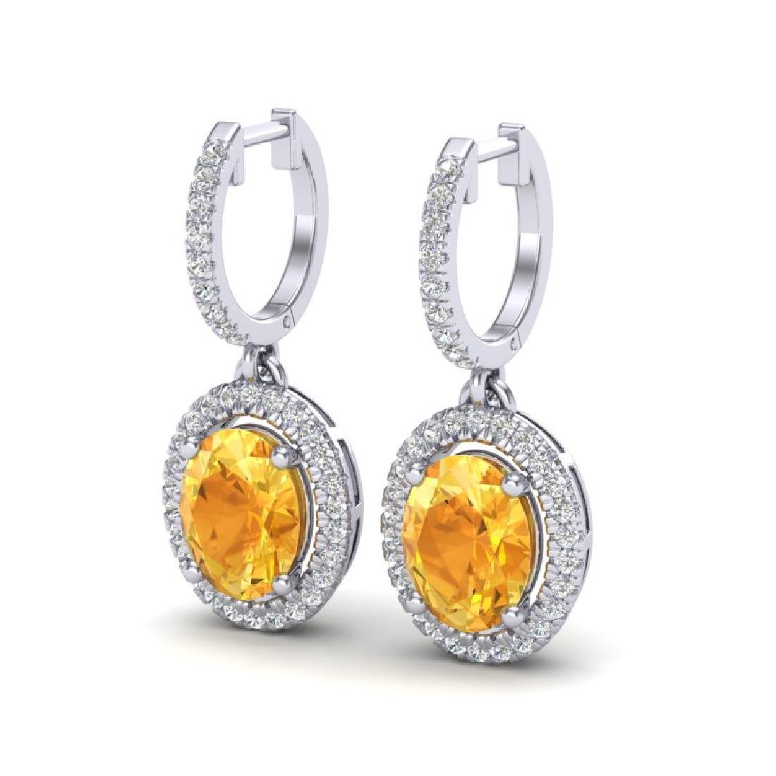 3.50 CTW Citrine & Micro Pave VS/SI Diamond Earrings