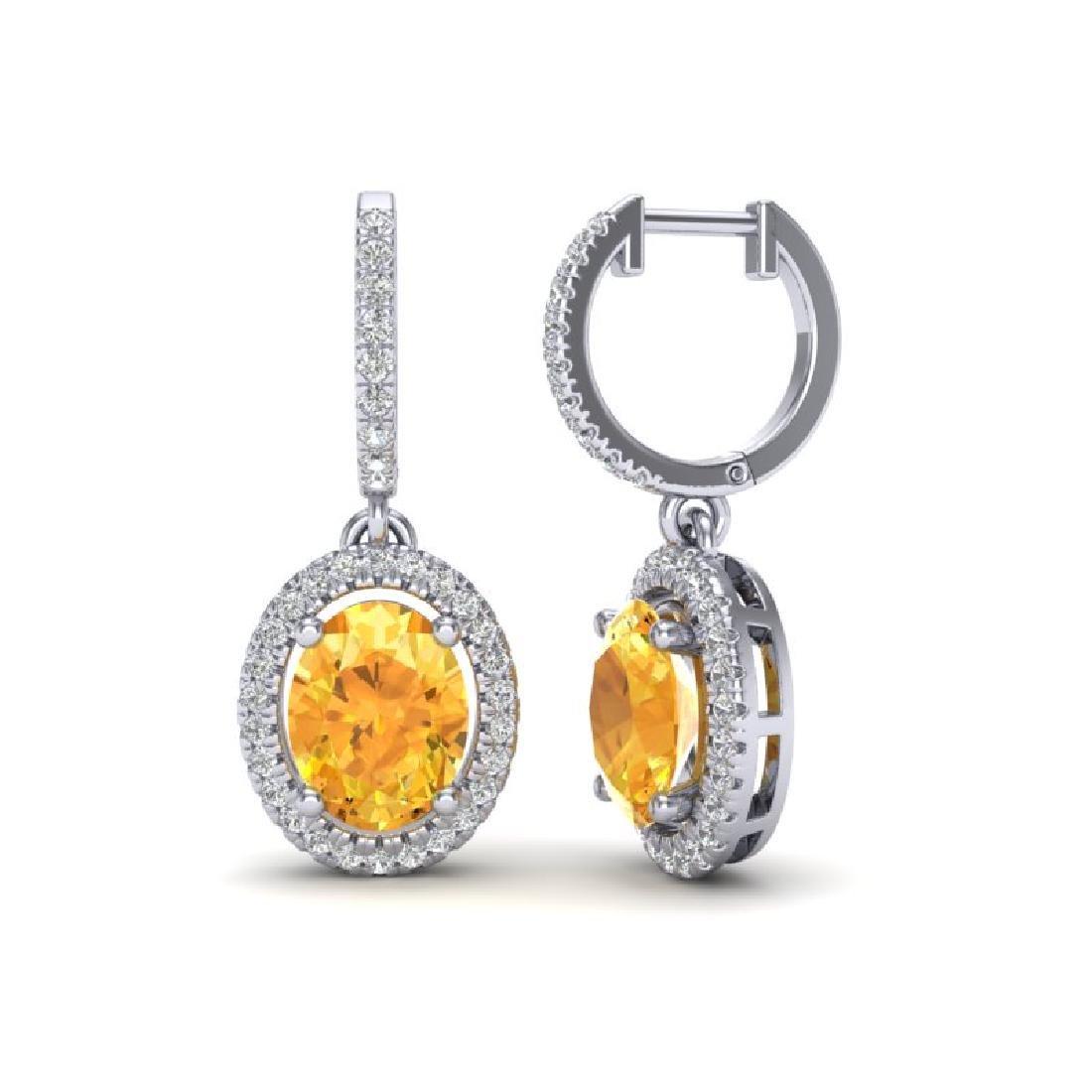 3.50 CTW Citrine & Micro Pave VS/SI Diamond Earrings - 2
