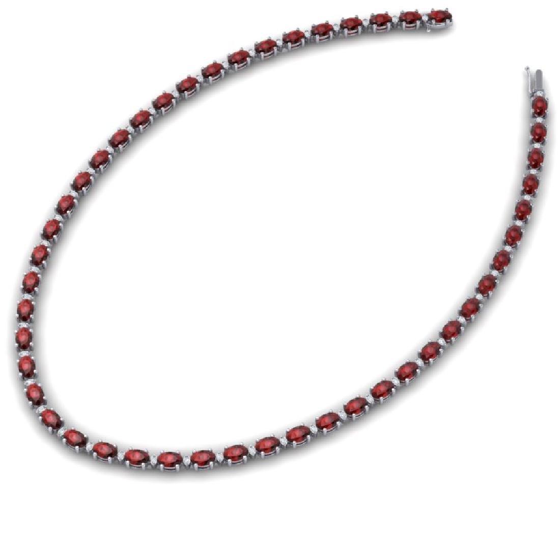 33 CTW Garnet & VS/SI Diamond Eternity Tennis Necklace - 2