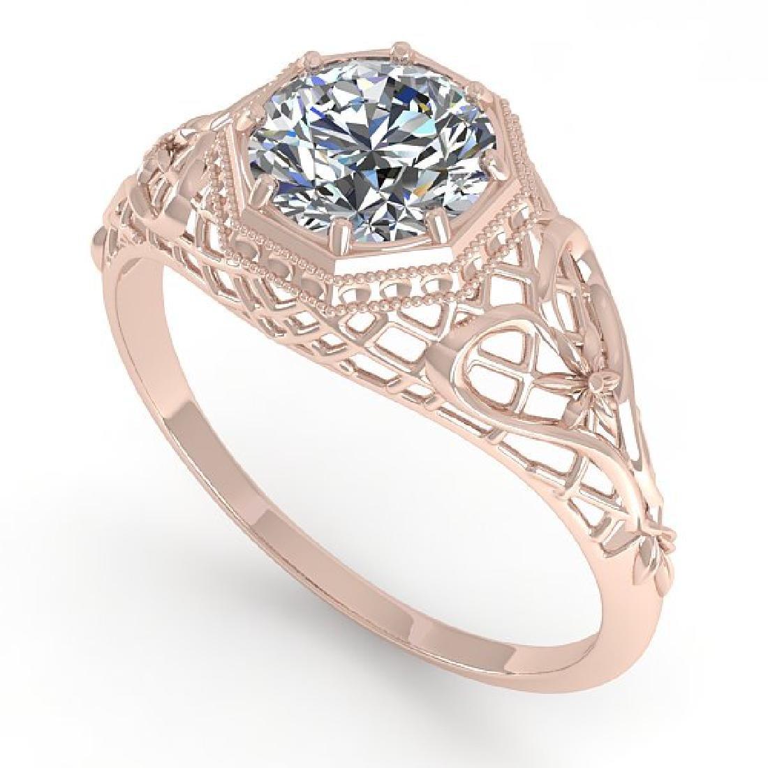 1.0 CTW VS/SI Diamond Solitaire Ring 14K Rose Gold - 2