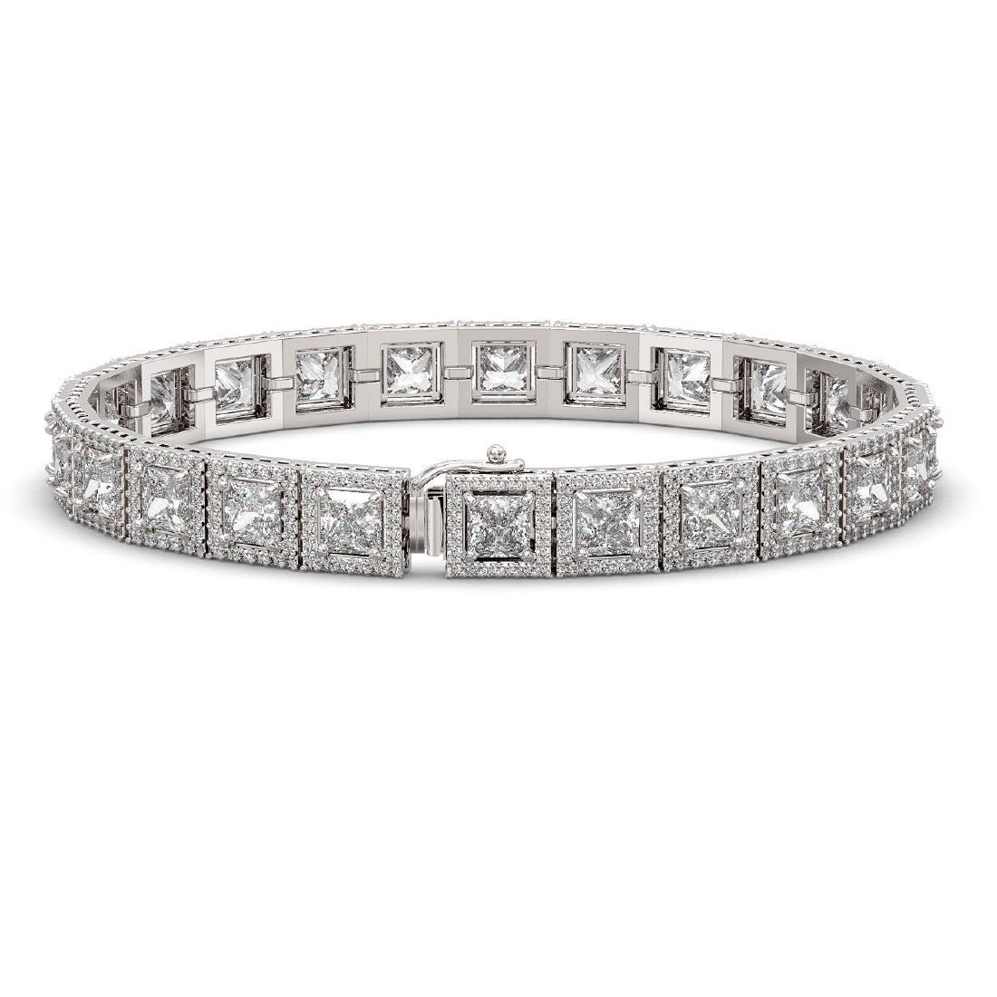 15.87 CTW Princess Diamond Designer Bracelet 18K White - 2