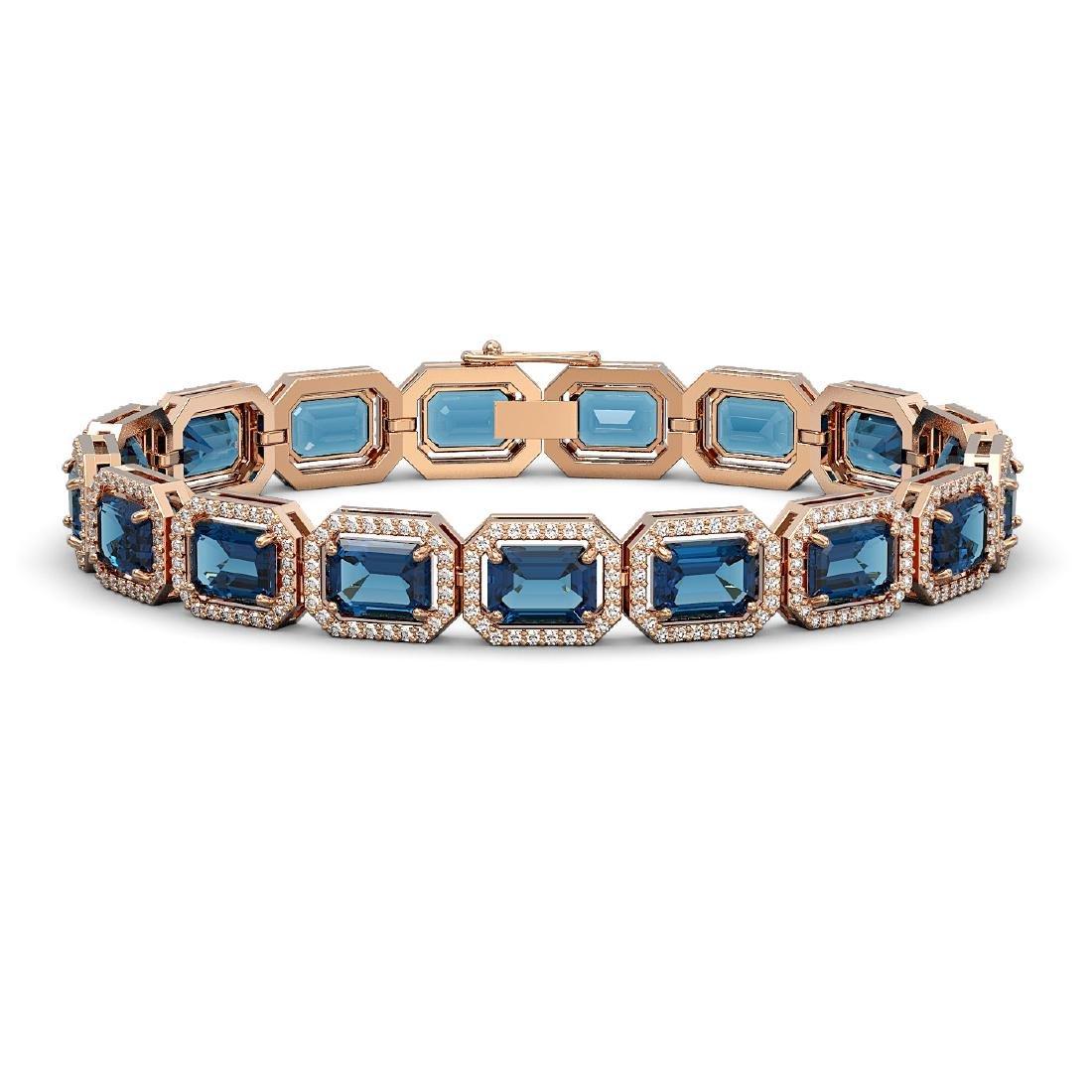 25.36 CTW London Topaz & Diamond Halo Bracelet 10K Rose