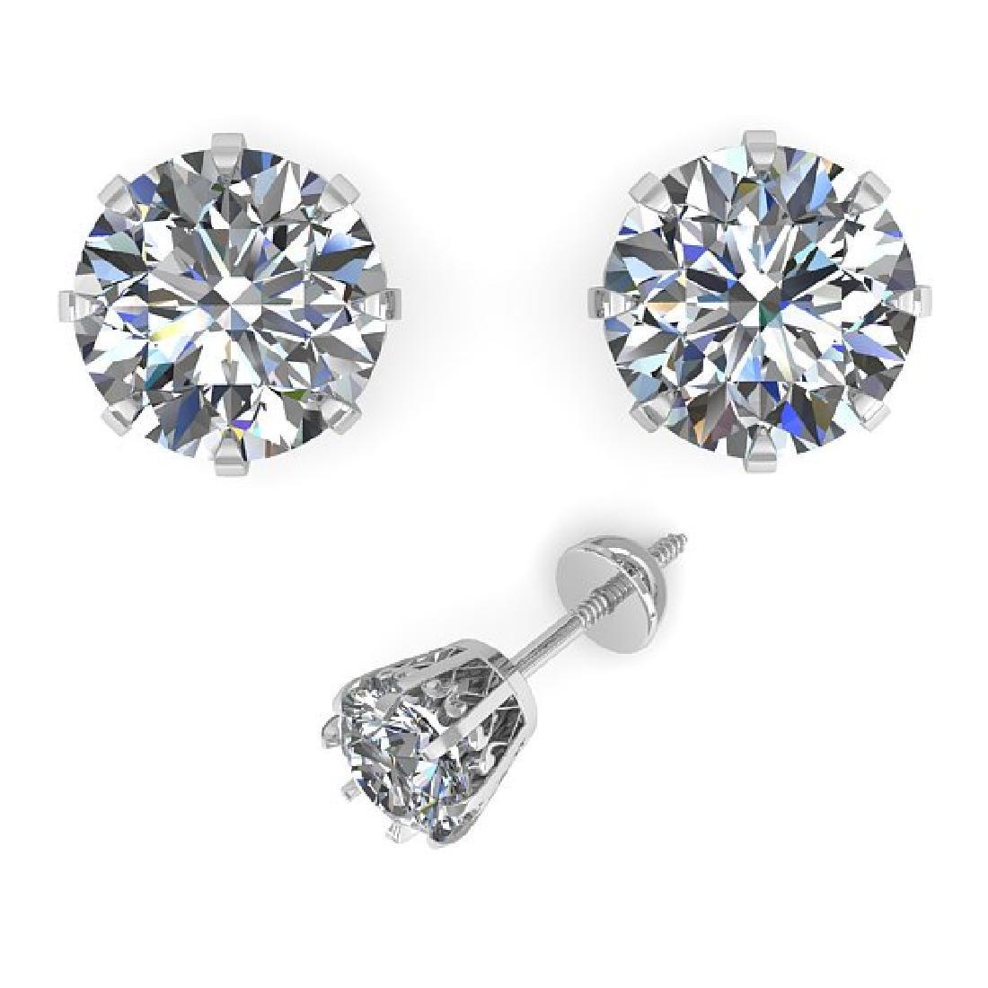1.53 CTW VS/SI Diamond Stud Solitaire Earrings 14K - 2
