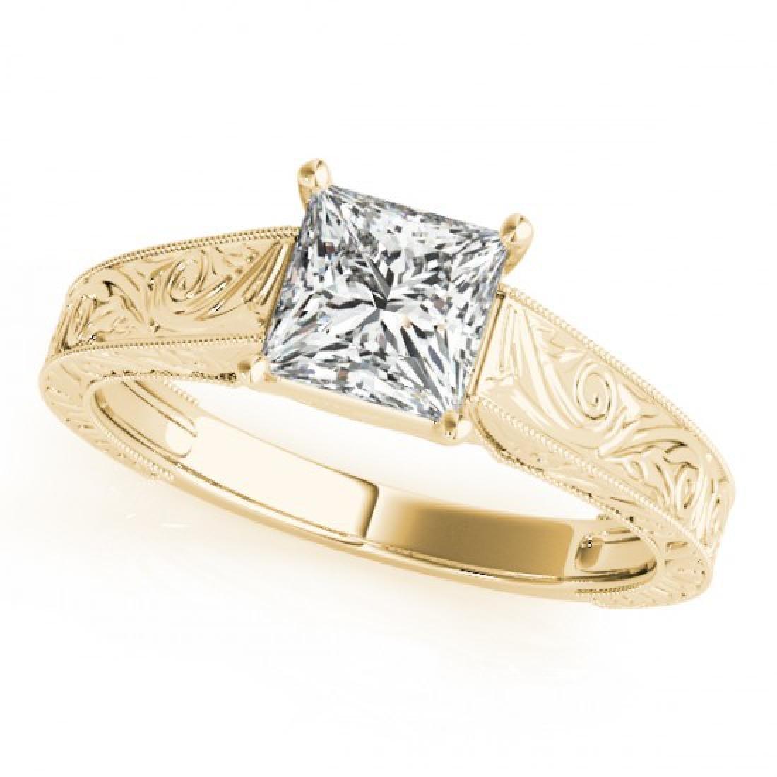 1 CTW Certified VS/SI Princess Diamond Ring 14K Yellow