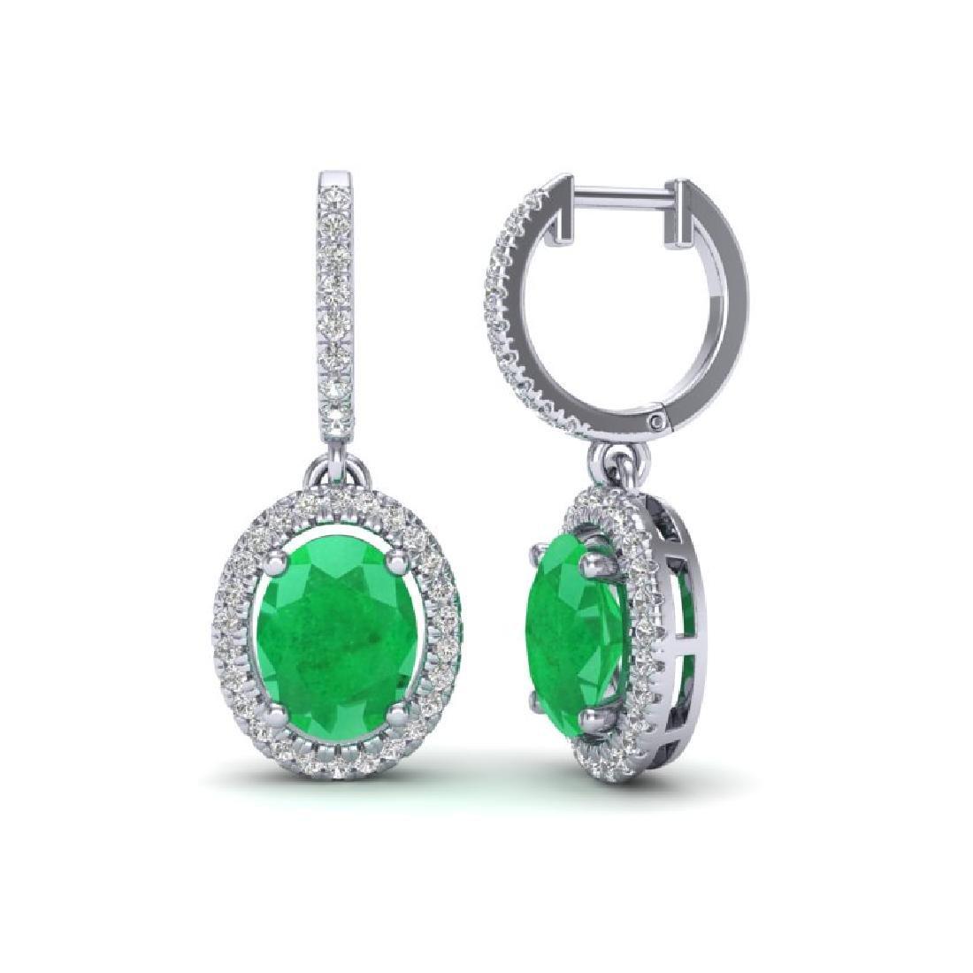 4.25 CTW Emerald & Micro Pave VS/SI Diamond Earrings - 2
