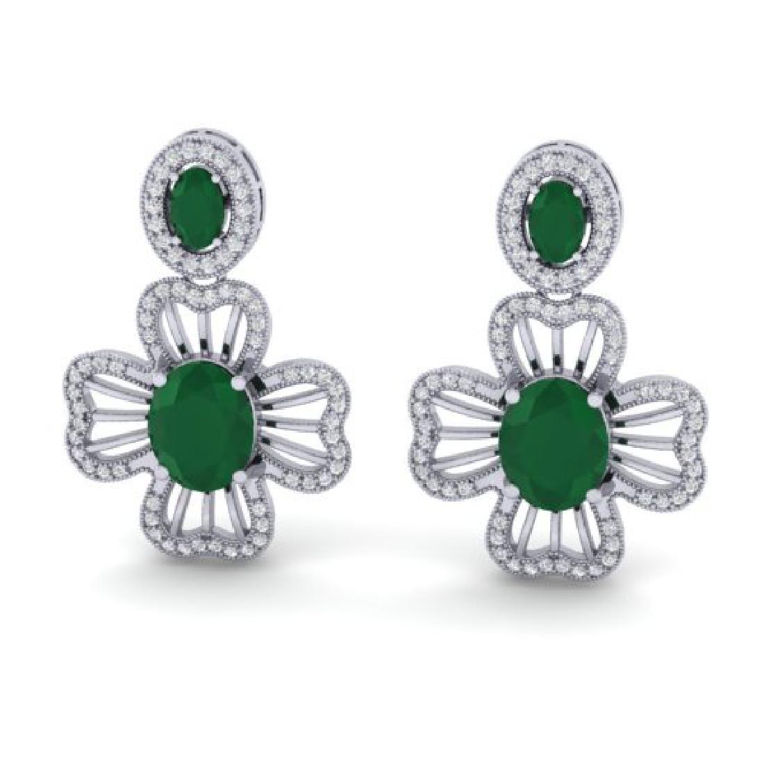 9.26 CTW Emerald & Micro Pave VS/SI Diamond Earrings
