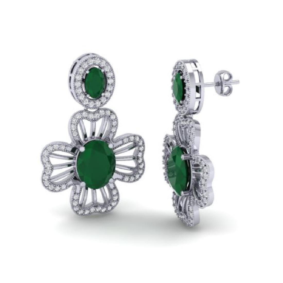 9.26 CTW Emerald & Micro Pave VS/SI Diamond Earrings - 2