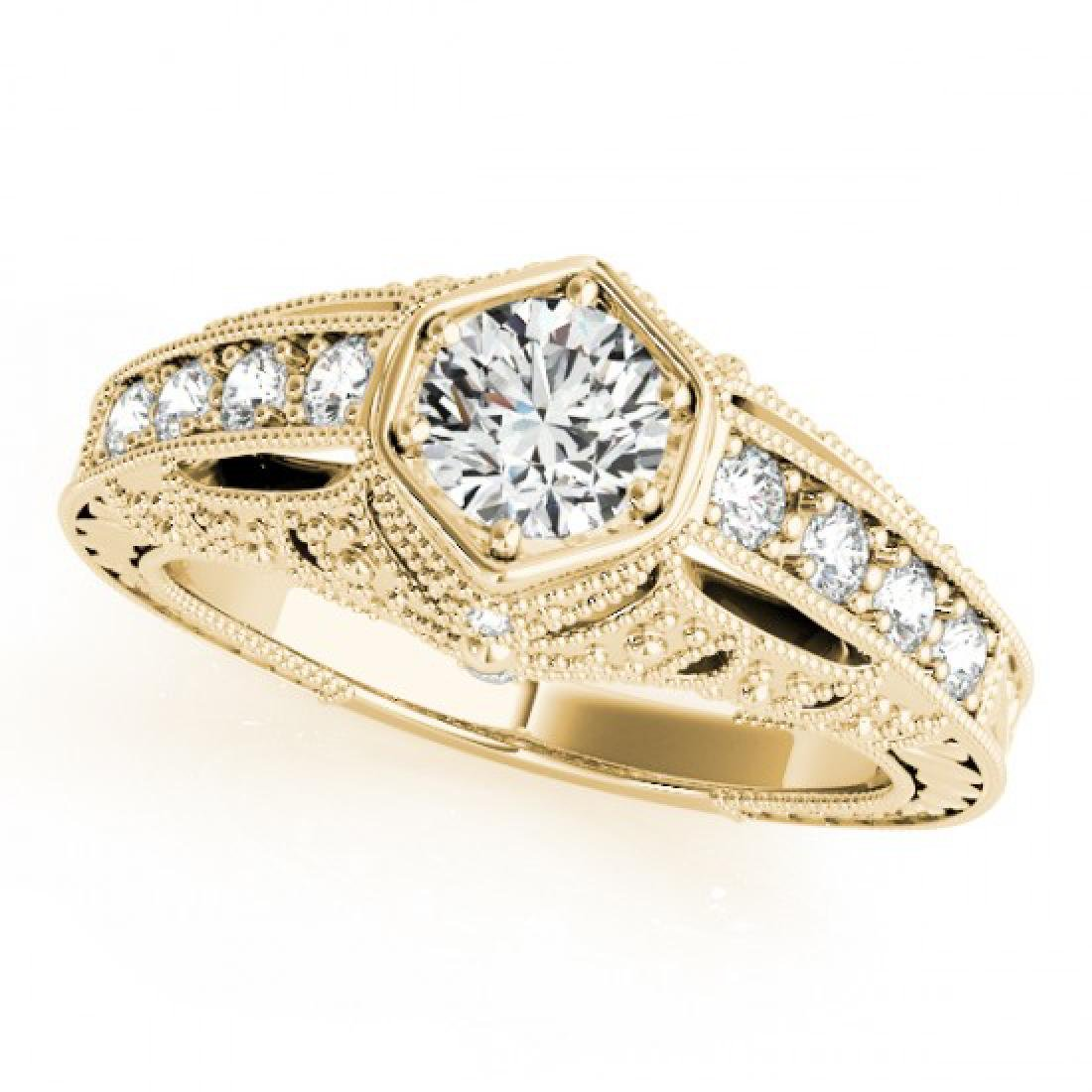 0.65 CTW Certified VS/SI Diamond Solitaire Antique Ring - 2