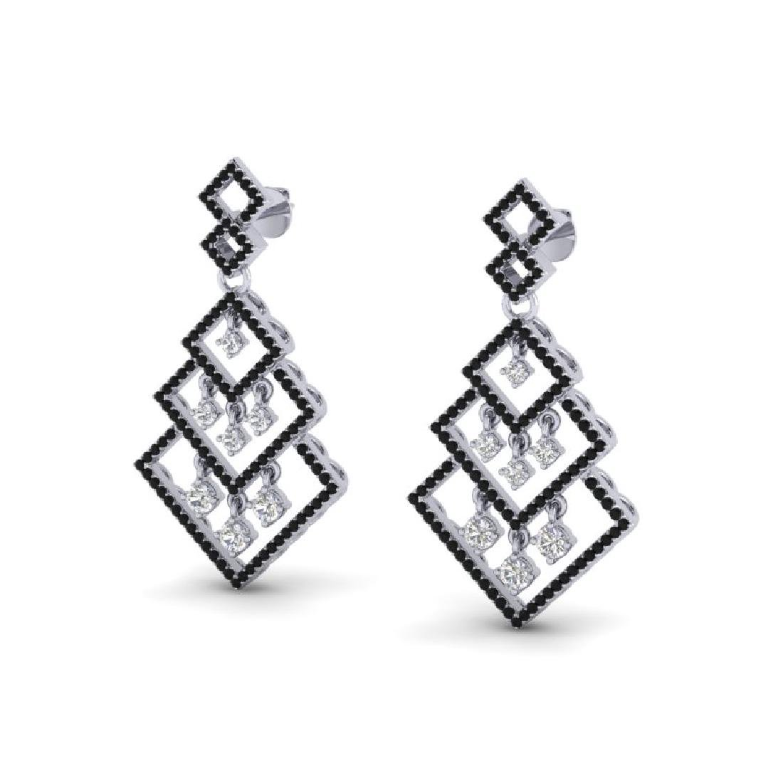 3 CTW Micro Pave Black & White VS/SI Diamond Earrings