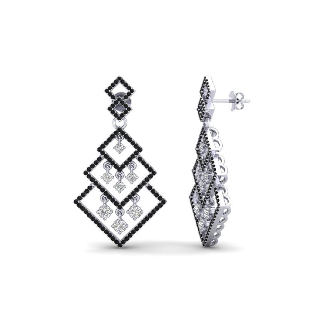3 CTW Micro Pave Black & White VS/SI Diamond Earrings - 2