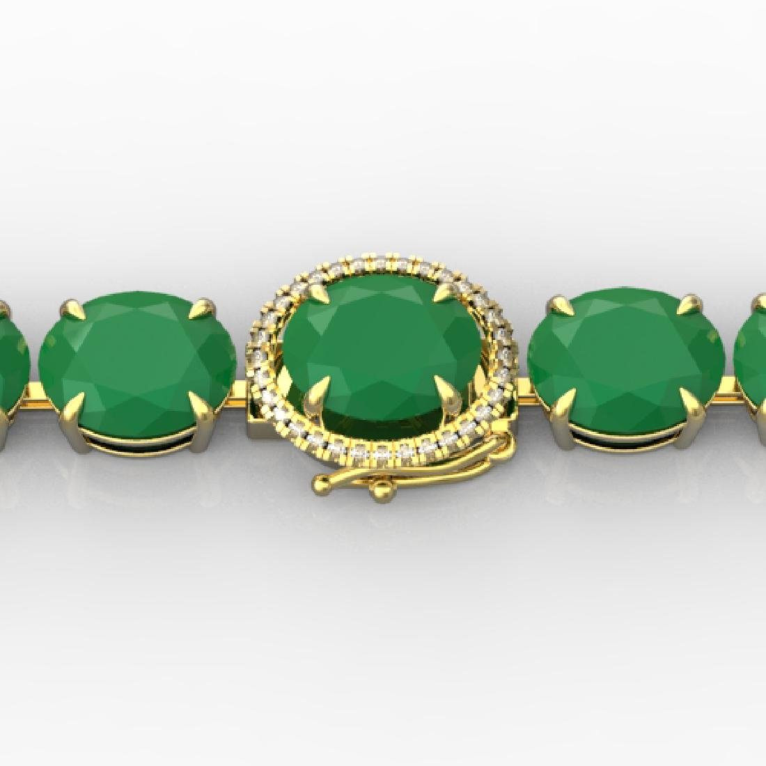 76 CTW Emerald & Micro Pave VS/SI Diamond Halo Bracelet