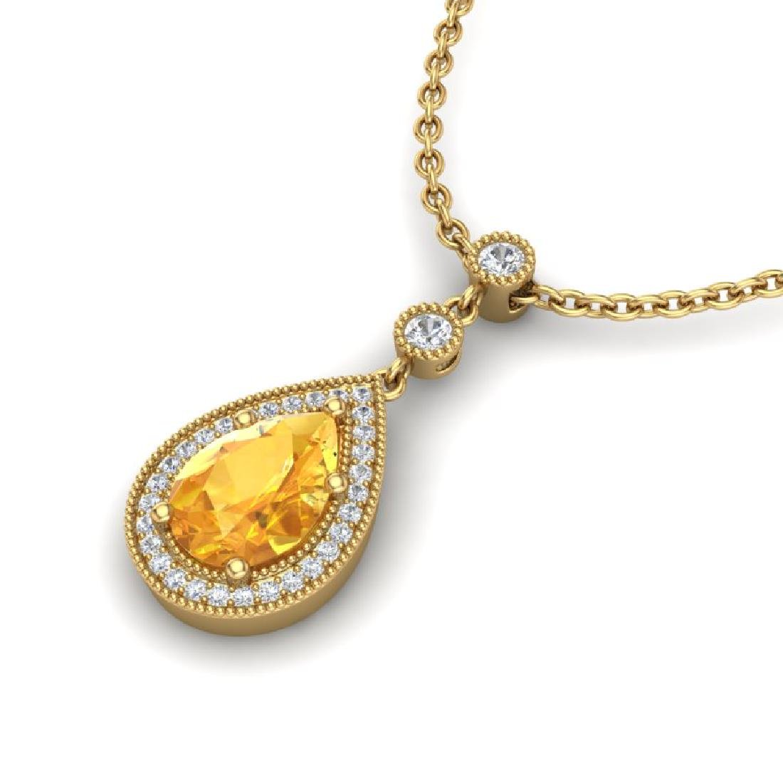 2.25 CTW Citrine & Micro Pave VS/SI Diamond Necklace