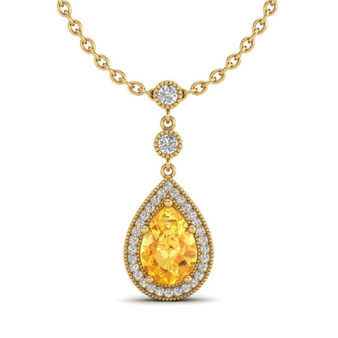 2.25 CTW Citrine & Micro Pave VS/SI Diamond Necklace - 2