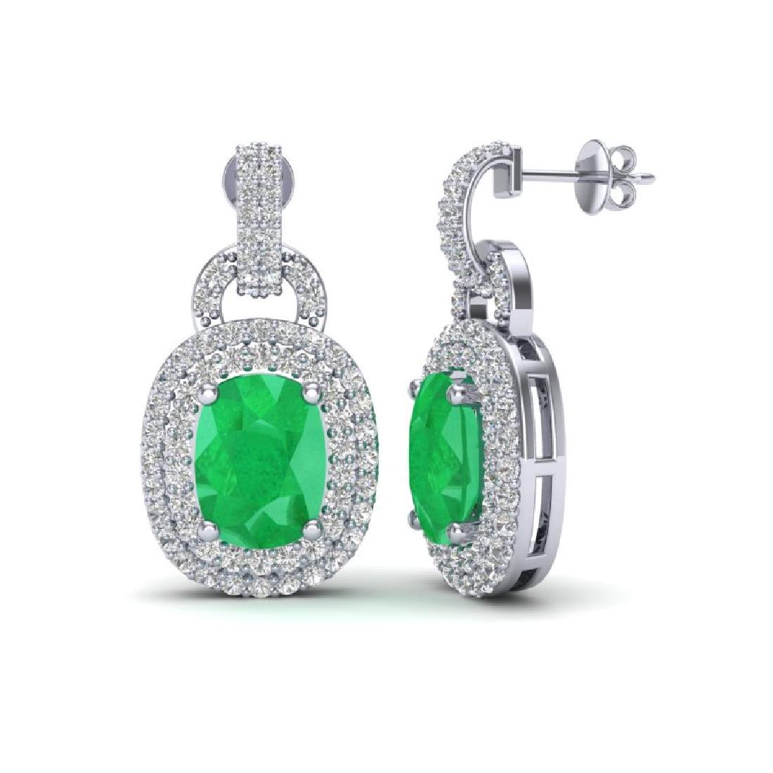 5 CTW Emerald And Micro VS/SI Diamond Pave Earrings - 2