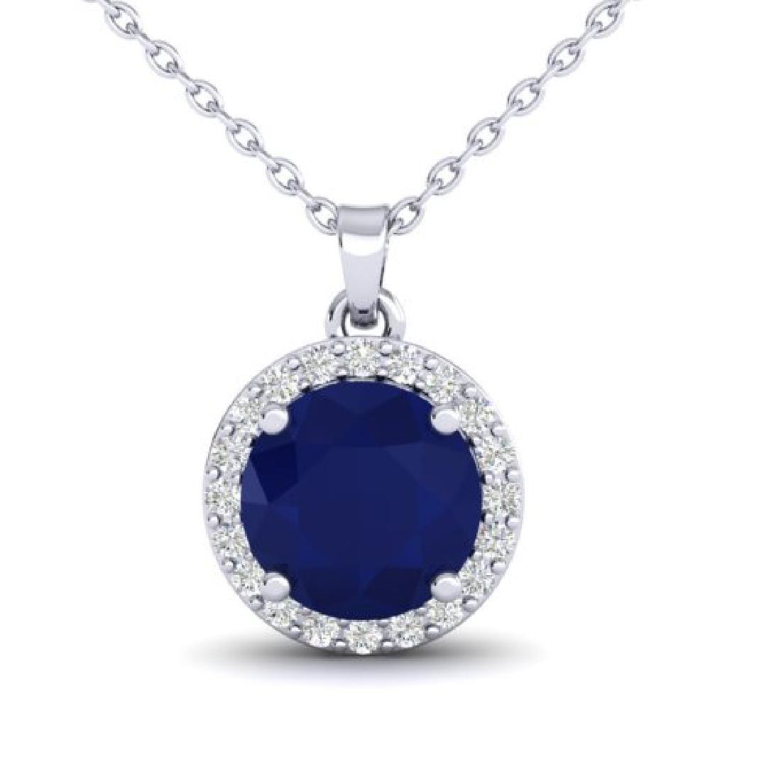 2 CTW Sapphire & Halo VS/SI Diamond Micro Pave Necklace - 2