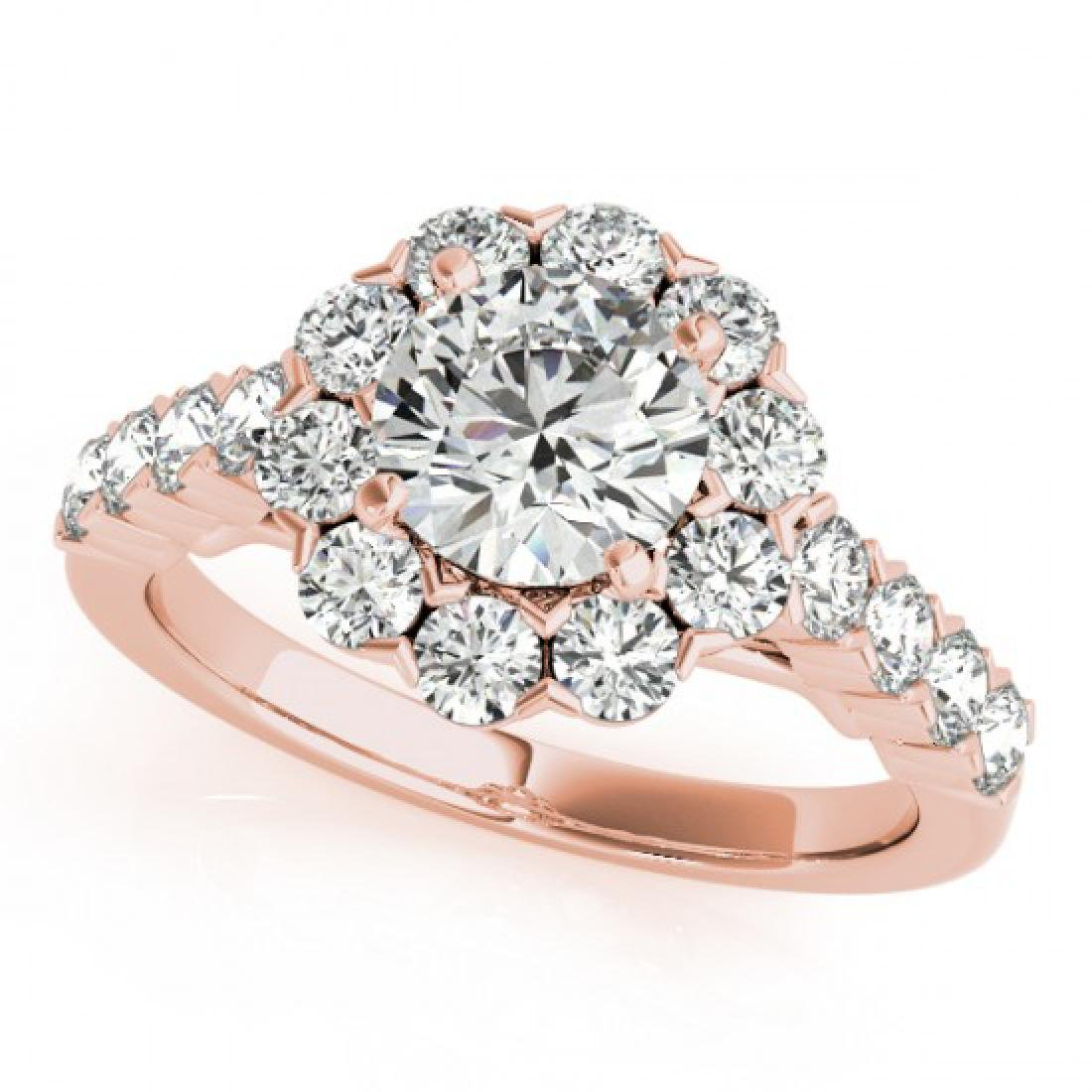 2.35 CTW Certified VS/SI Diamond Solitaire Halo Ring