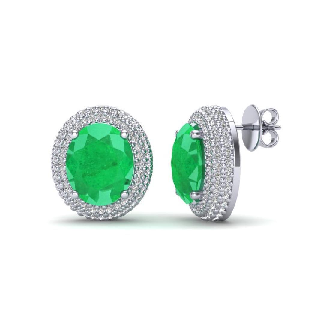 9.20 CTW Emerald & Micro Pave VS/SI Diamond Earrings - 2