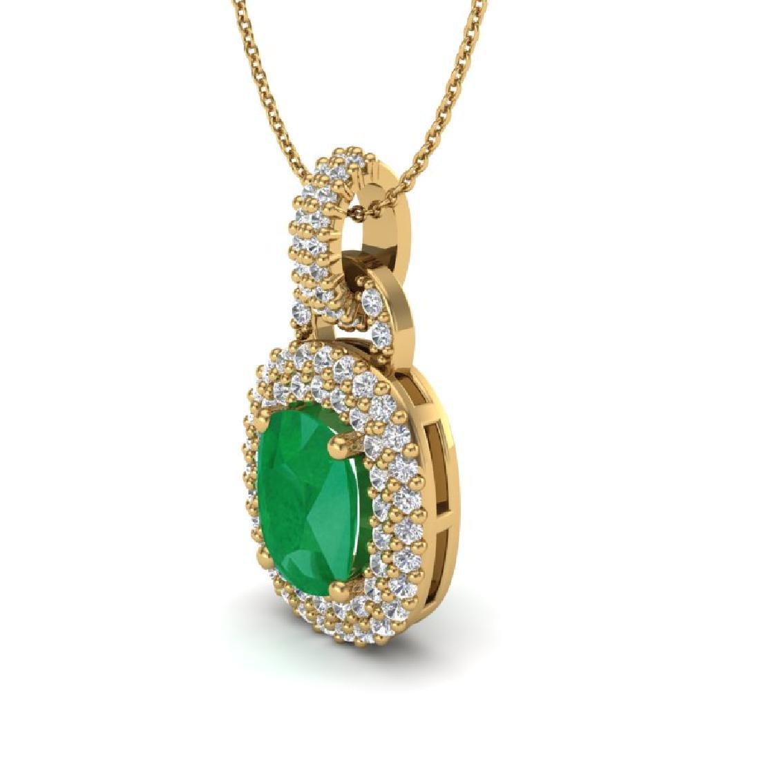 2.50 CTW Emerald & Micro Pave VS/SI Diamond Necklace - 2