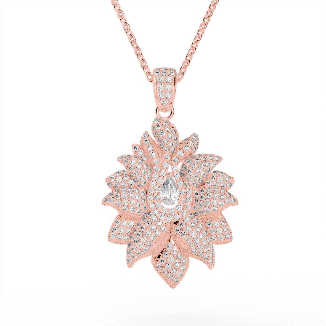 3 CTW Micro Pave VS/SI Diamond Designer Necklace 14K - 2