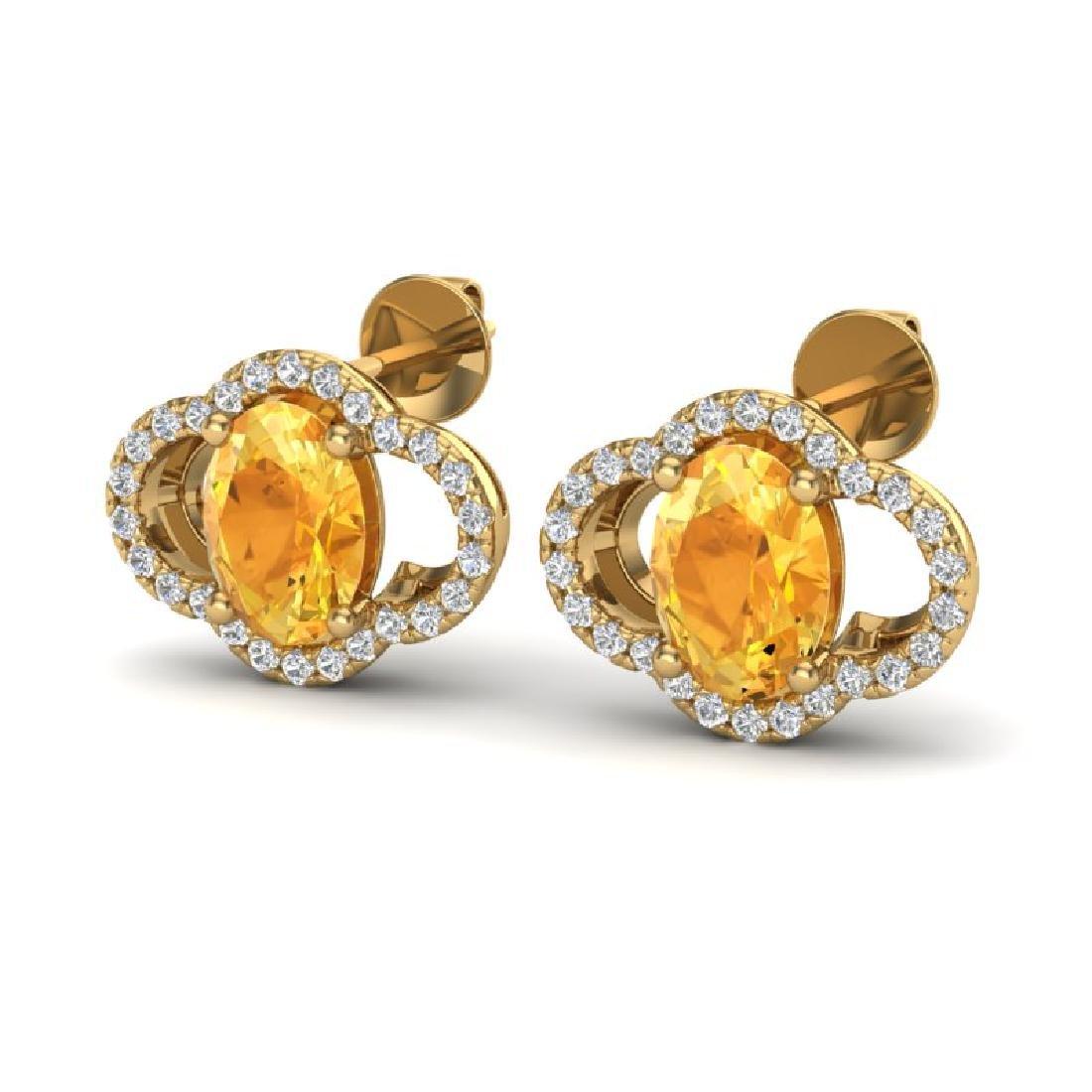 3.50 CTW Citrine & Micro Pave VS/SI Diamond Earrings