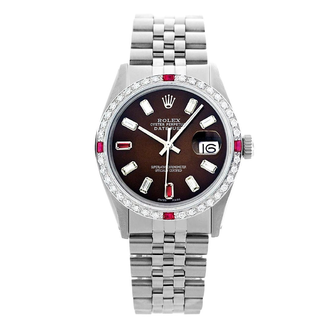 Rolex Men's Stainless Steel, QuickSet, Diam/Ruby Dial & - 2