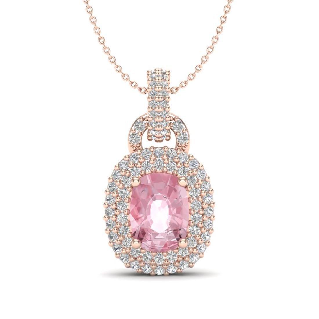2.50 CTW Morganite & Micro Pave VS/SI Diamond Necklace