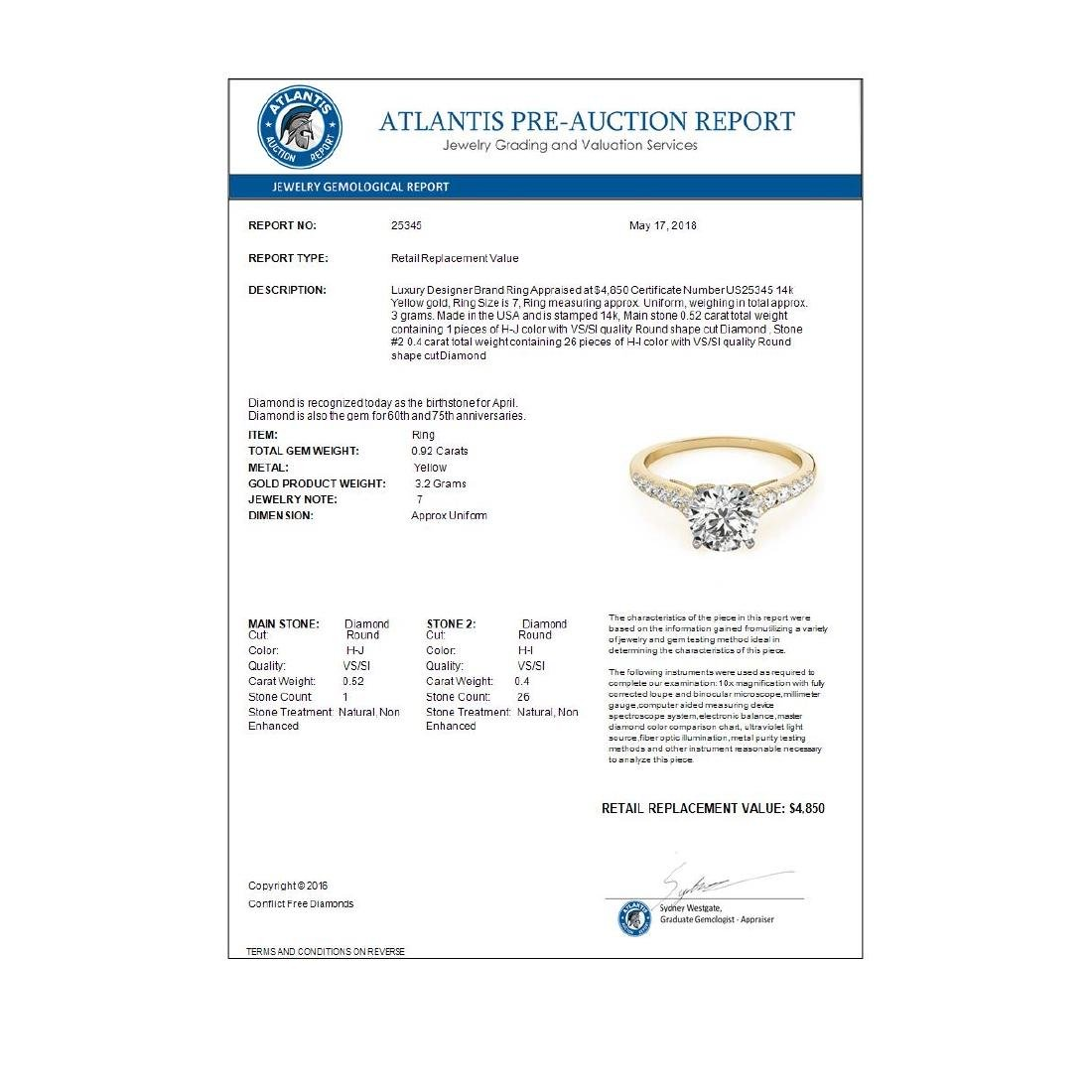 0.92 CTW Certified VS/SI Diamond Solitaire Ring 14K - 3