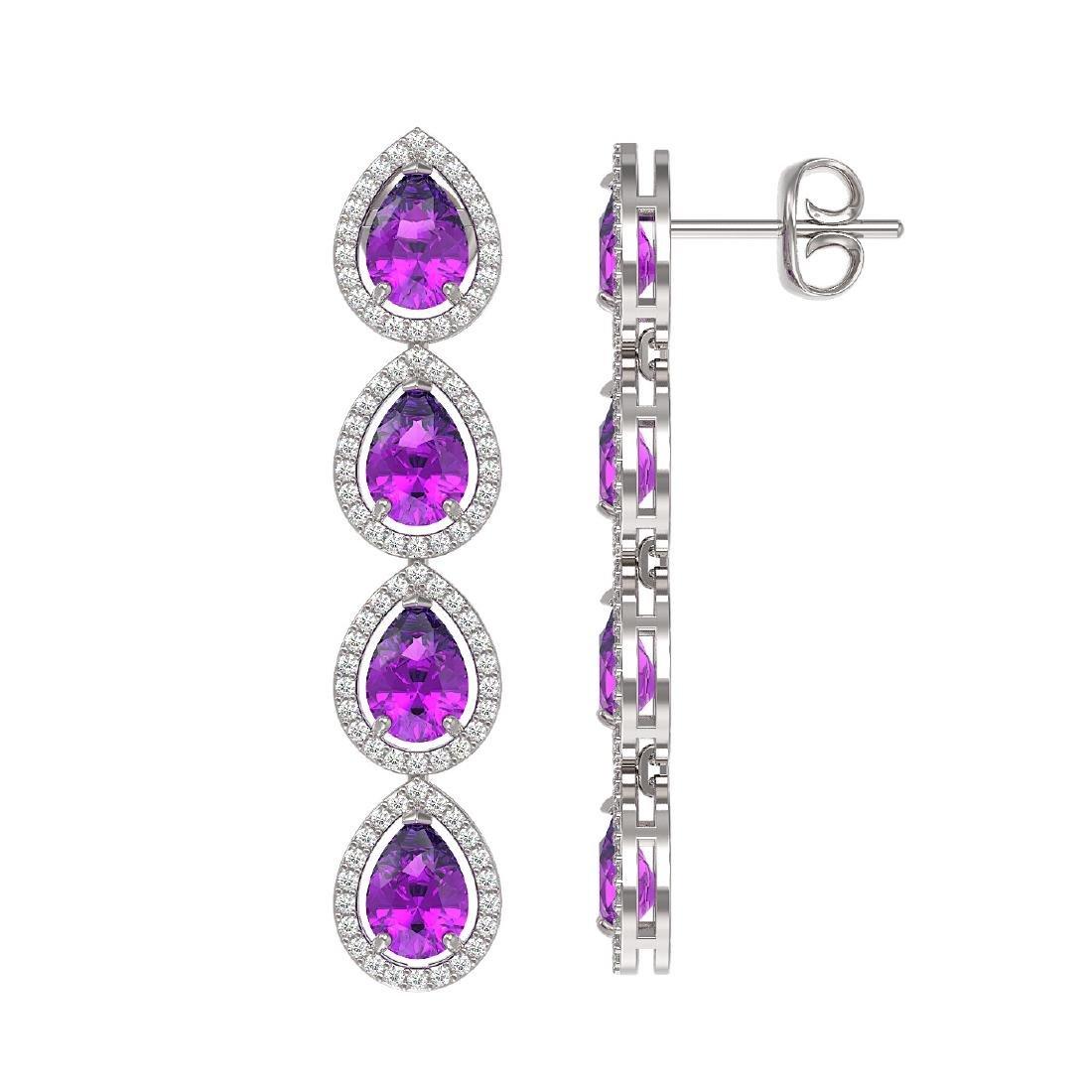 7.85 CTW Amethyst & Diamond Halo Earrings 10K White - 2