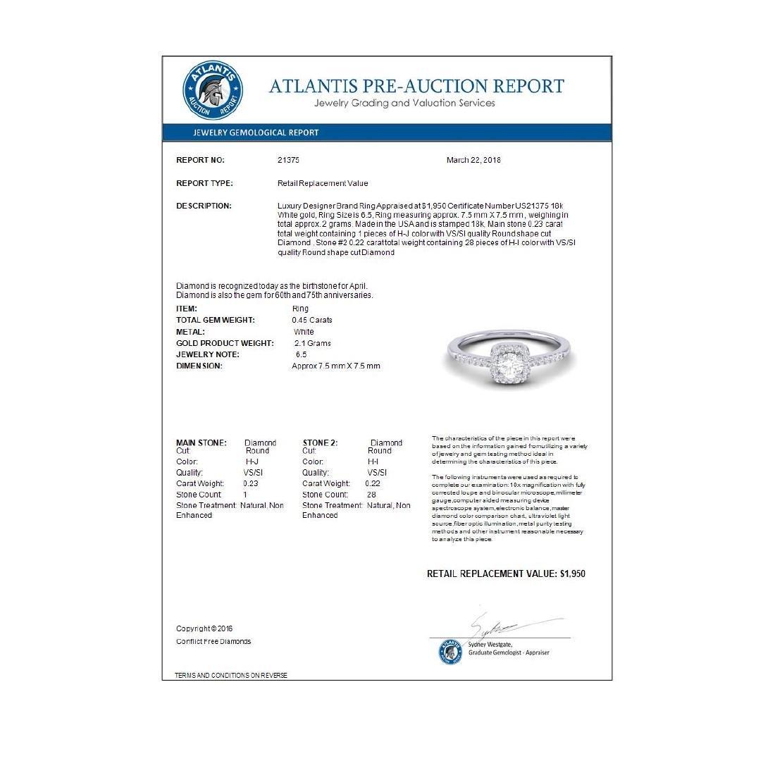 0.45 CTW Micro Pave VS/SI Diamond Ring Designer Halo - 3