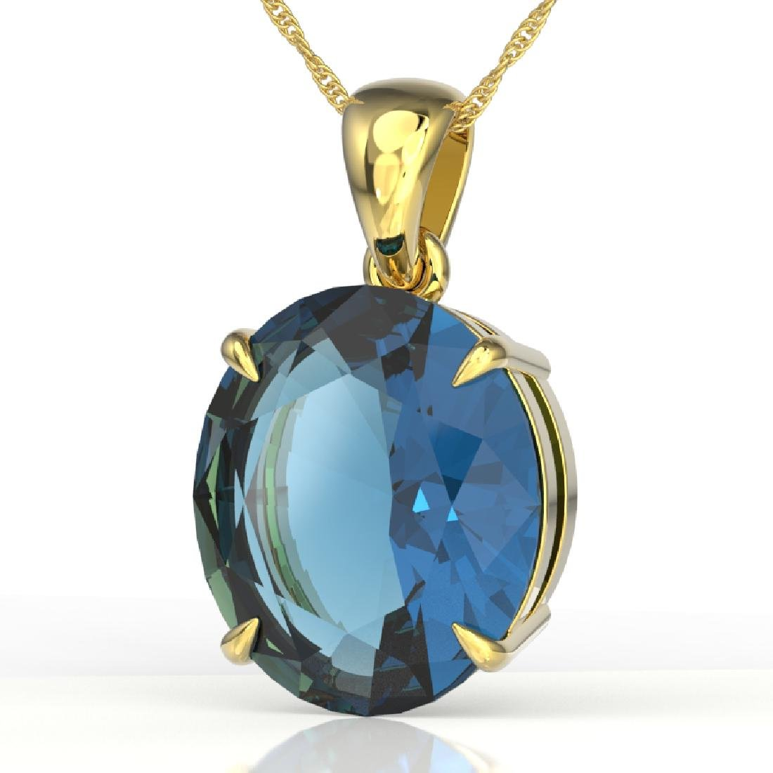 9 CTW London Blue Topaz Designer Solitaire Necklace 18K