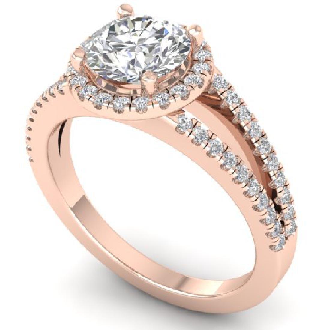 2 CTW Certified VS/SI Diamond Solitaire Micro Halo Ring - 2
