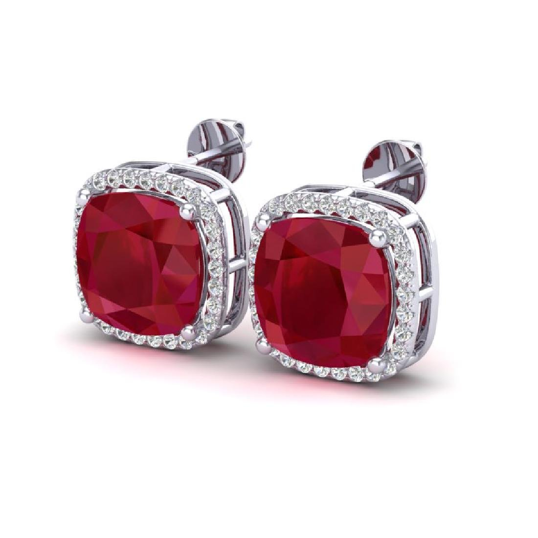 12 CTW Ruby & Micro Pave Halo VS/SI Diamond Earrings