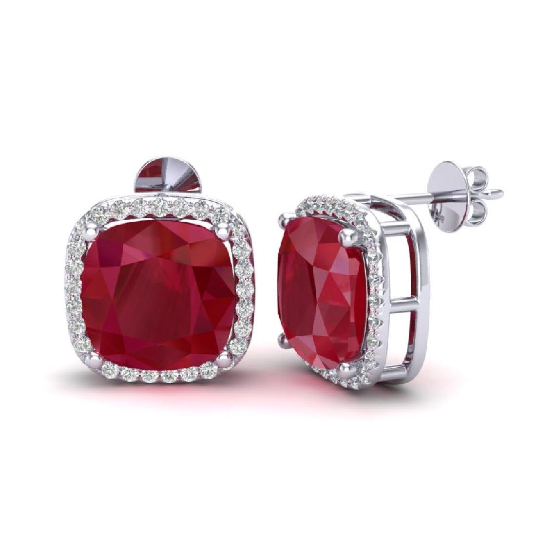12 CTW Ruby & Micro Pave Halo VS/SI Diamond Earrings - 2