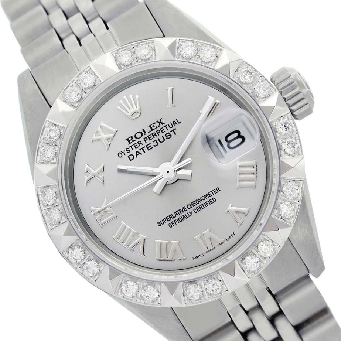 Rolex Ladies Stainless Steel, Roman Dial with Pyrimid
