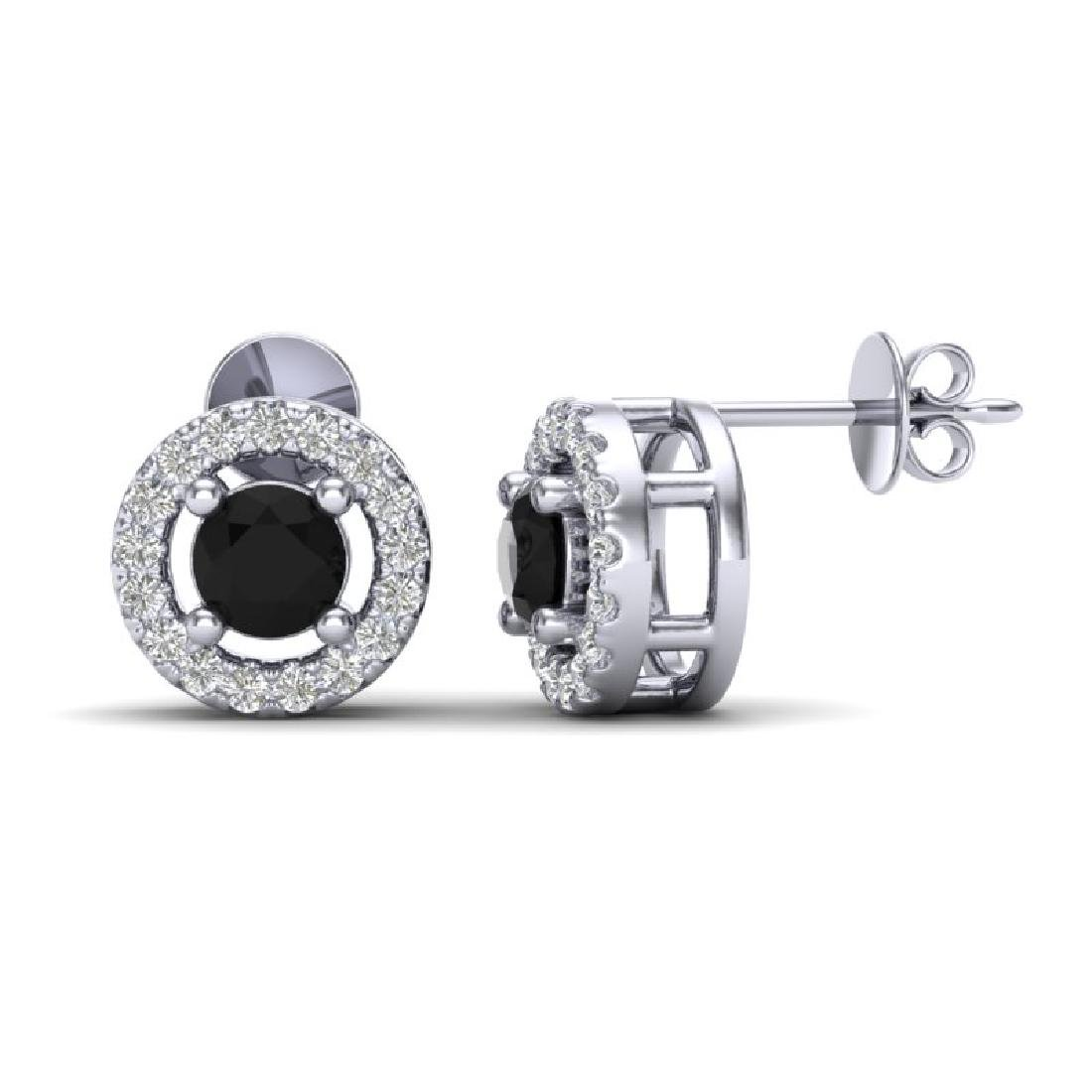 0.75 CTW Micro Pave VS/SI Diamond Earrings Solitaire - 2