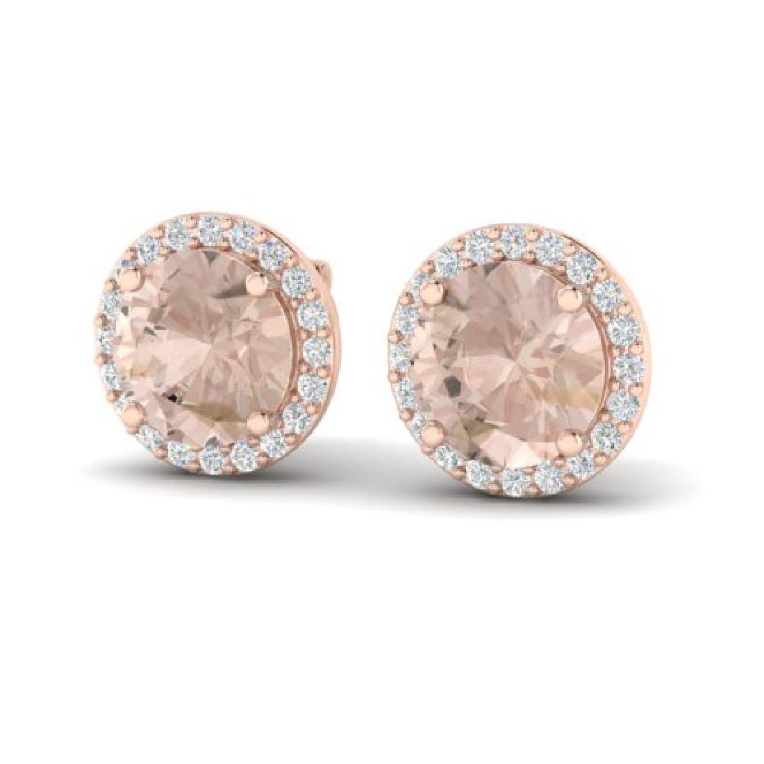 3 CTW Morganite & Halo VS/SI Diamond Micro Pave
