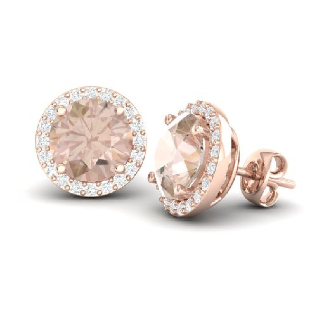 3 CTW Morganite & Halo VS/SI Diamond Micro Pave - 2