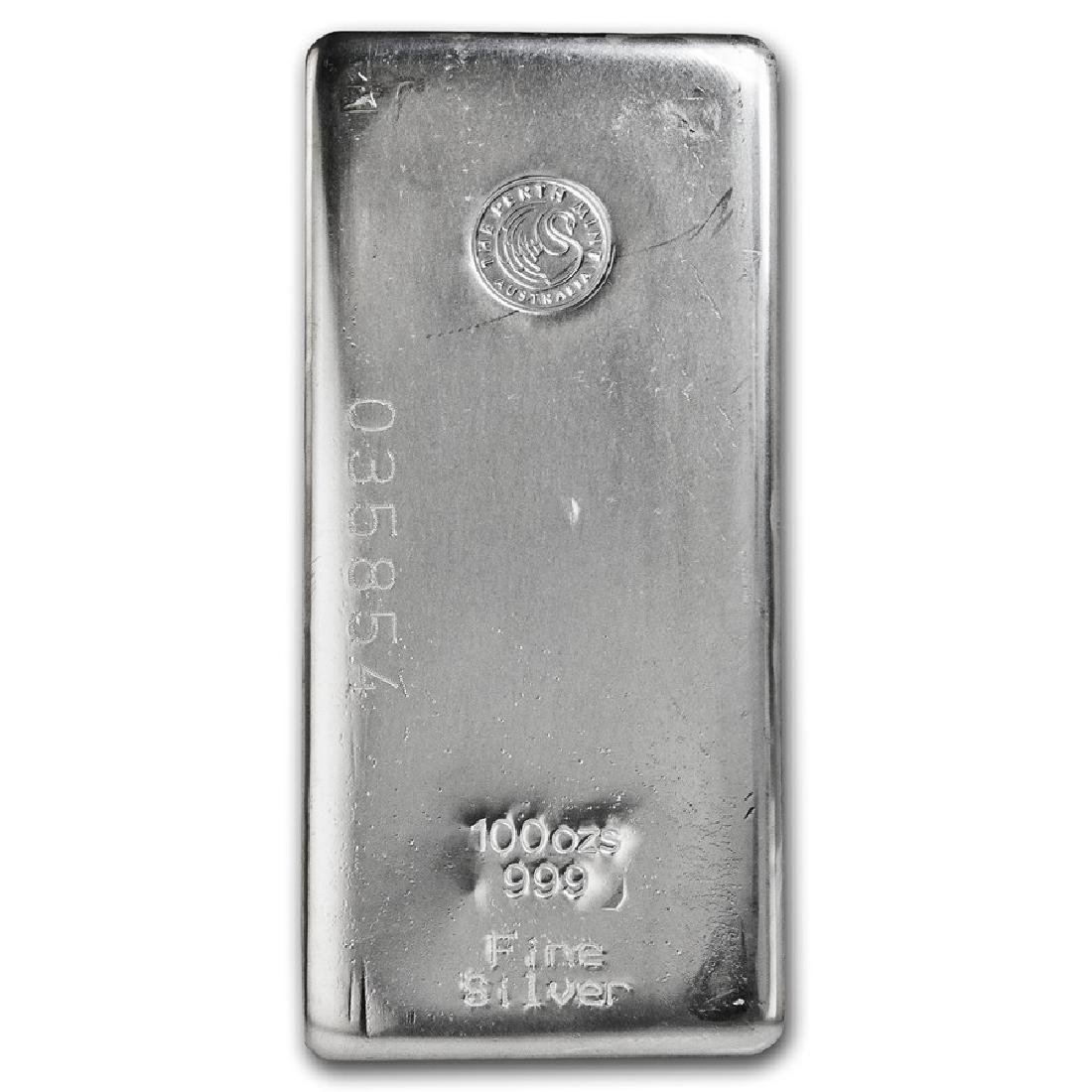 One piece 100 oz 0.999 Fine Silver Bar Perth Mint-82246