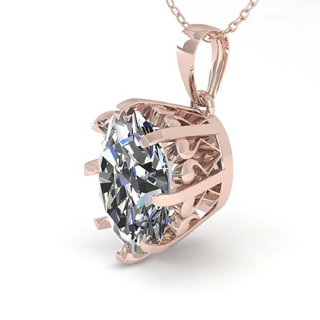 1 CTW VS/SI Oval Diamond Solitaire Necklace 14K Rose