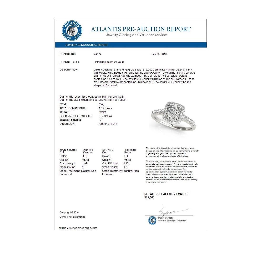 1.45 CTW Certified VS/SI Cushion Diamond Solitaire Halo - 3