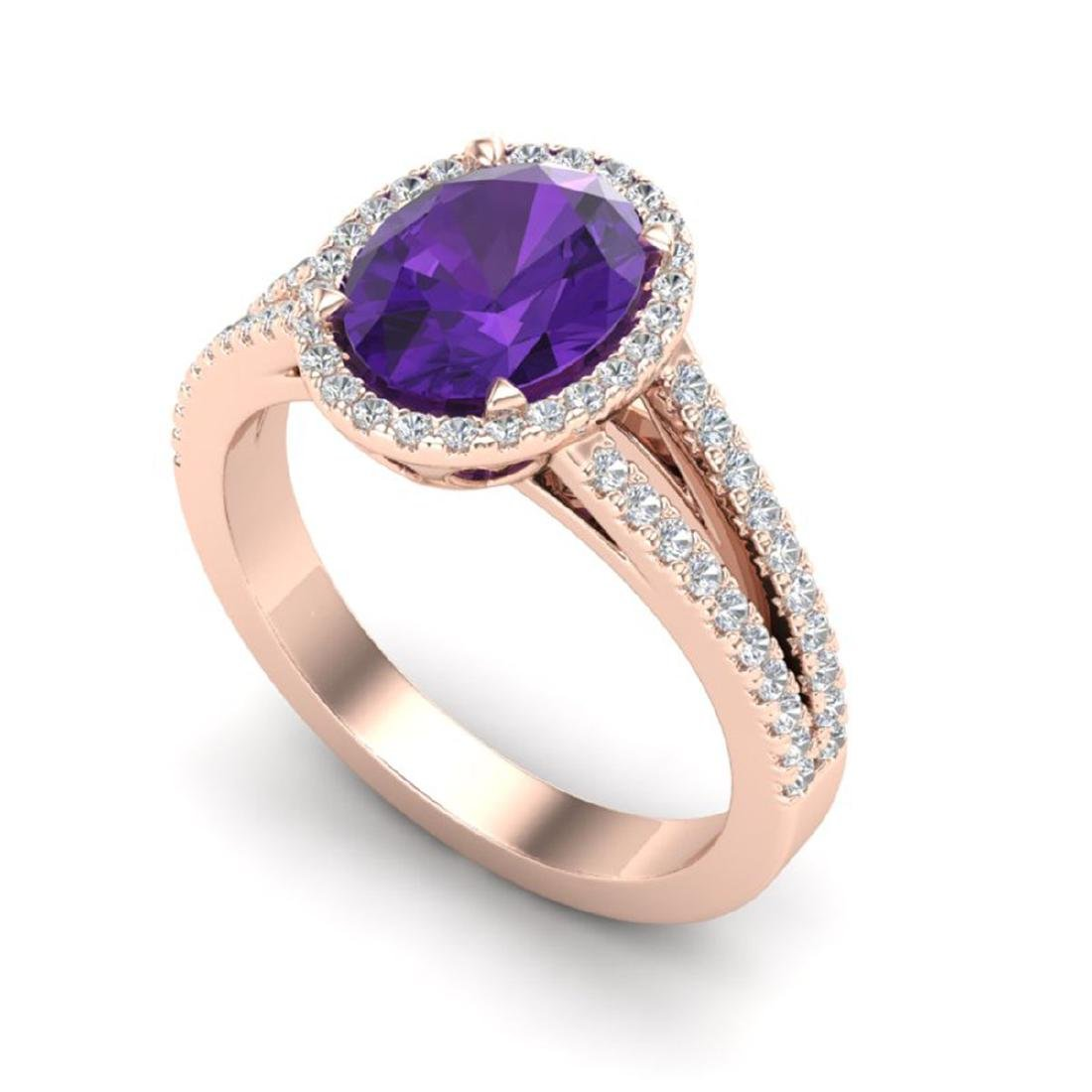 3 CTW Amethyst & Micro VS/SI Diamond Halo Solitaire - 2